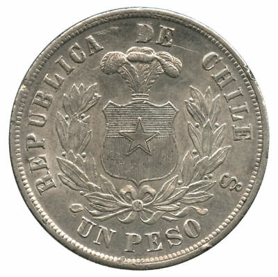 1884 Republic of Chile Silver Peso