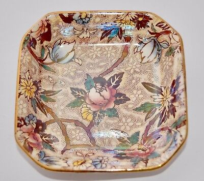 Vintage Maling Ware Lustre Chintz Square Dish 6527 - 10.4cm - Chestnut Brown