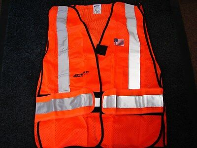 NEW ~ BNSF ~ ORG ~Railroad Safety Vest Class 2 ~ JUMBO ~ T-Way ~ Free s/h in usa
