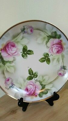 "E.S. Prussia 1811 Painted PLATE 9.5"" Cabbage Roses Gold Rim"