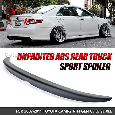 for 07-11 toyota camry abs jdm unpainted black rear tail trunk wing spoiler  usa