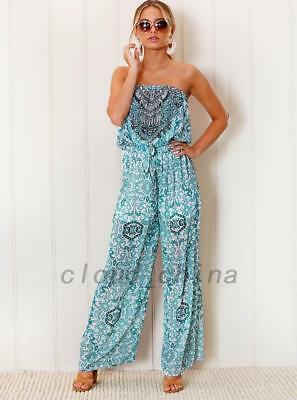 Off Shoulder Floral Fitted Backless Jumpsuit Wide Leg Palazzo Pants Playsuit AU