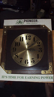 Vintage Pioneer Seed Quartz Movement Wall Clock * Farming * 11 In x 11 In *