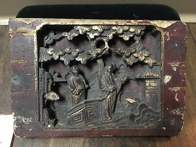 Antique 18c? Chinese Buddhist Temple Wood Panel Gilt Art Destroyed Red Regime