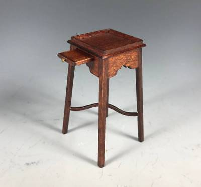 TERRY ROGAL IGMA Artisan 1:12 Dollhouse Miniature Carved Wood Plant Stand Table
