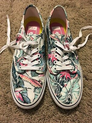 17b073163dc1 VANS Tennis SHOES Off The Wall TROPICAL LEAF Pattern Size 9 HARDLY WORN J88