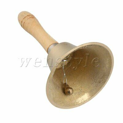 Solid Brass Wooden Handle Desk Hand Bell for School Reception Dinner Shop Hotel