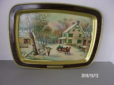 """Vintage  CURRIER AND IVES """"American Homestead Winter"""" SERVING TRAY"""