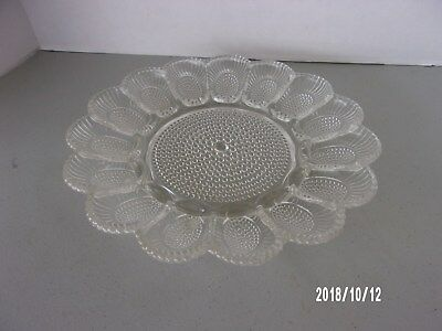 "Vintage Cut Glass Clear Deviled Egg Plate Serving Tray 11"" Hobnail Indiana Glass"