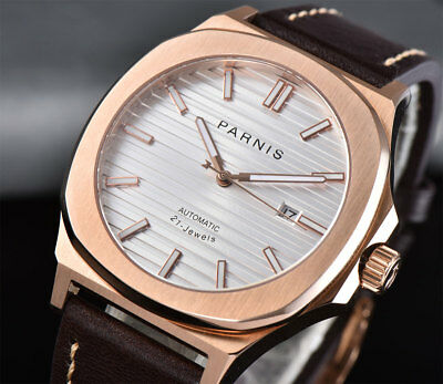 45651e8e9 45mm PARNIS Rose Gold Automatic Mens Watch Sapphire Crystal Leather strap  White