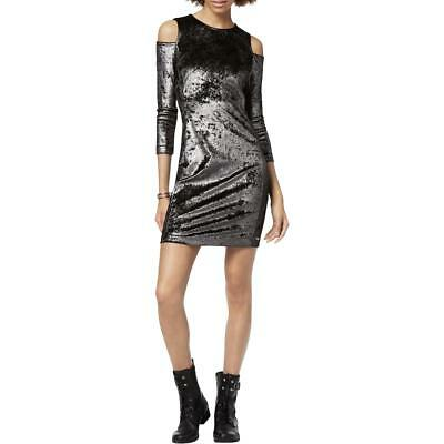 Armani Exchange Womens Silver Velvet Cold Shoulder Clubwear Dress XS BHFO 8633