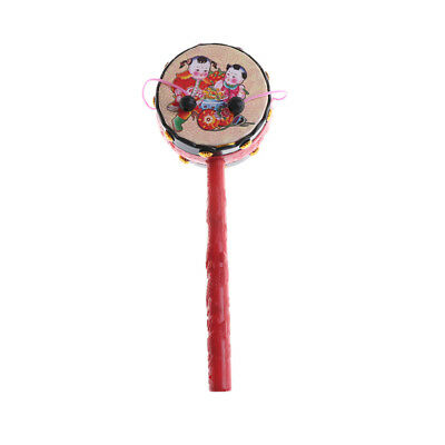 Funny Lovely Rattle Drum Chinese Traditional Hand Bell Musical Instrument Toy s/