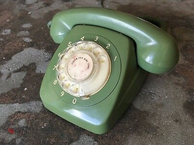 vintage old rotary telephone dial phone antique green