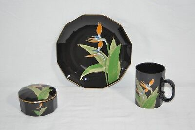 Vintage Japanese Otagiri Bird of Paradise Porcelain Plate, Cup, and Trinket Box