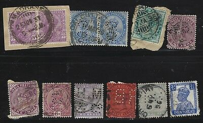 Collection Of 13 India Private Perfins With 2 Pairs