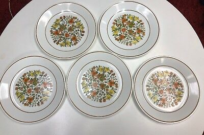 "(5)Corelle by Corning 8.5"" Plate Indian Summer Floral Design Lunch Plates"