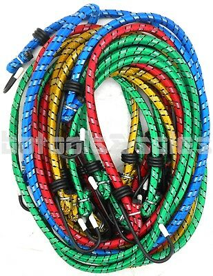 "10pc Bungee Cord Tie Down Set 18"" 24"" 30"" 36"" Heavy Duty Color Straps 2 Hook End"