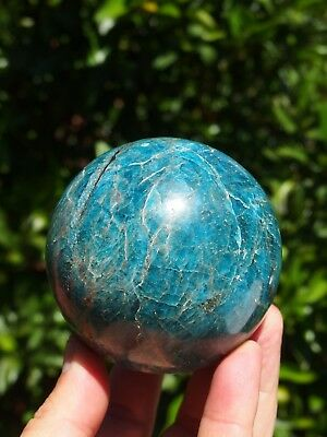 Large Polished Blue Apatite Sphere from Madagascar. Diameter 75 mm.