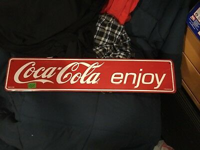 """Coca Cola- Used sign- Not Vintage- 5""""x24"""" - Some Wear See Pics"""