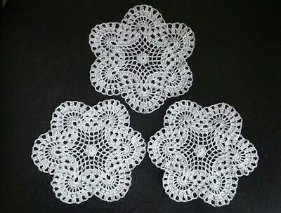 "Lot of 3 hand crochet 6"" WHITE doilies or coasters"