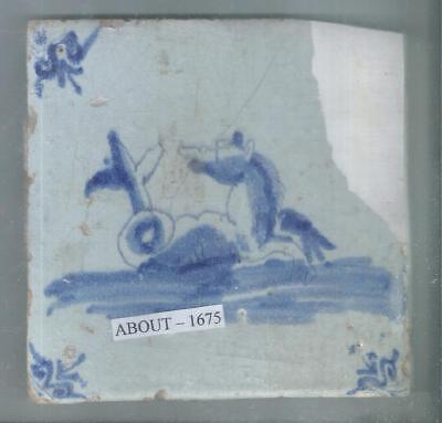 Antique Holland Delft Tile Around 1675