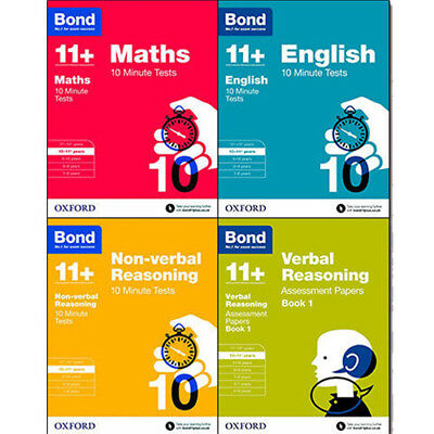 Bond 11+ Plus Maths,English,Verbal,Non verbal 4 Books Collection Set NEW Pb