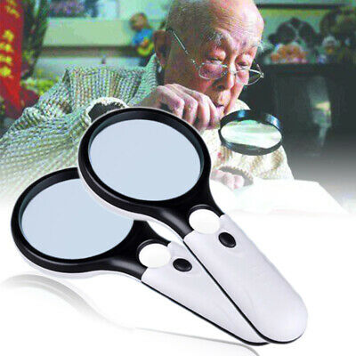 3 LED 45X Handheld Magnifier Reading Magnifying Plastic Glass Lens Jewelry Loupe
