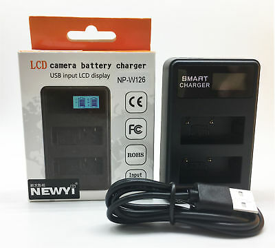 NEWYI Dual Camera Battery charger NP-W126 with USB for Fujifilm XT-10 XT10 X-T2