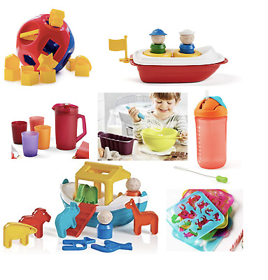 BNIP Tupperware Children Toys~Shape O~Tupper Canoe~Noahs Ark~Tea Party~Stencils