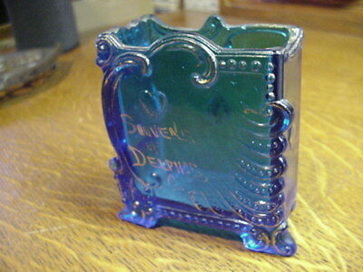 Vintage Blue Glass Playing Card Holder - Souvenir of Delphos Ohio