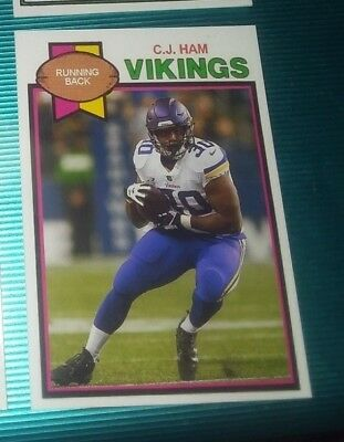 Minnesota Vikings C.J. Ham 1979 style Custom art Card ACEO