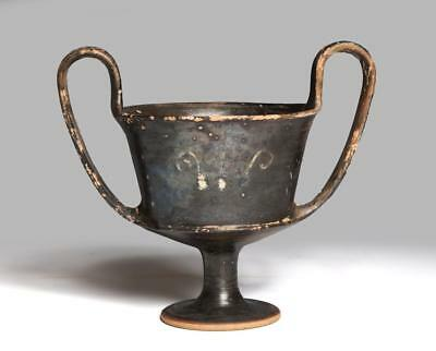 Greek italian decorated pottery kantharos: Circa 4th century BC.