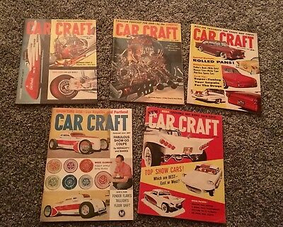 5 Vintage CAR CRAFT Magazine 1959 & 1960s  Hot Rode Muscle Classic 60s America