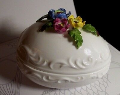 "Towle Bone China Floral Egg Jewelry Trinket Box 4"" x 3"" Very Fine Condition"