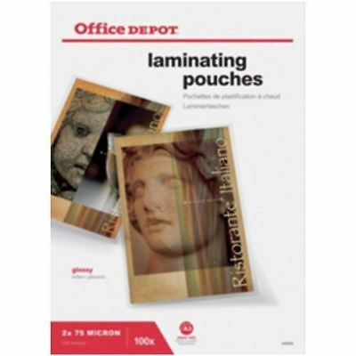 Office Depot Laminating Pouches 150 Micron A3 Clear Gloss - Pack of 100