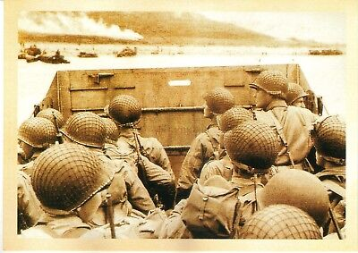 US Army Marine Corps USMC In Personnel Carrier Beach Sea WW2 Postcard (M11)