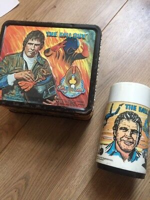 1981 TIN LITHO ( THE FALL GUY )  EMBOSSED LUNCHBOX Vintage Tin.