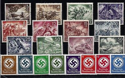 Nazi Germany Third 3rd Reich WW2 MNH 1943 WAR HERO stamp set U Boat Stuka etc B