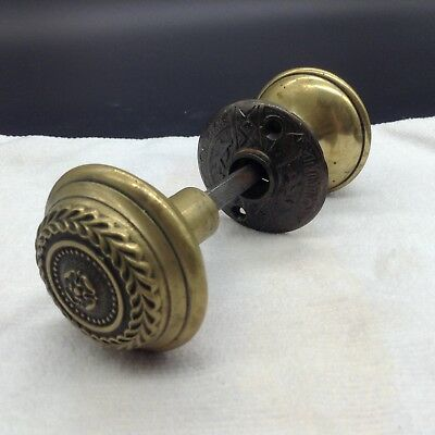 Antique Victorian Restoration Wreath Ornate Brass Door Hardware Doorknobs Set
