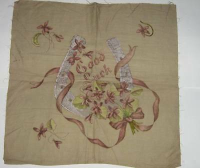 Vintage Tinted Partially Embroidered Vogart Style Linen Pillow Cover Piece VGC
