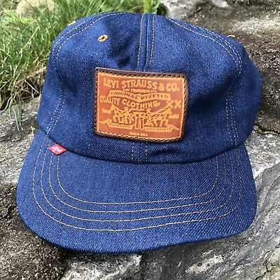 RARE VTG 70s 80s Levi's Denim Jeans Trucker Hat Cap Farmer Leather Strapback USA