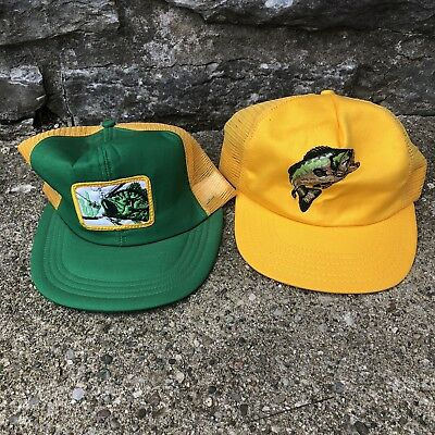 2 VTG 70s 80s Mesh Farmer Trucker Hat Cap Fishing Largemouth Bass USA Made