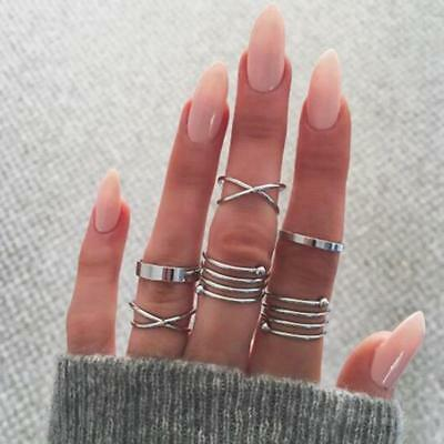 1Set Rinhoo Bohemian Vintage Women Crystal Joint Knuckle Nail Ring Jewelry 6L