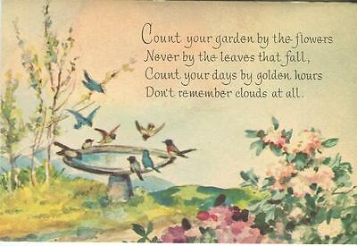 Vintage Blue Birds Robins Bird Bath Flowers Motto Poem Impressionism Card Print