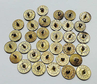 LOT OF 33 ANTIQUE METAL MILITARY COAT BUTTONS w VARIOUS BACKMARKS 1800's etc