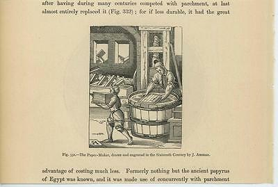 Antique Man Making Medieval Hand Made Paper In 16Th Century 1870 Small Art Print