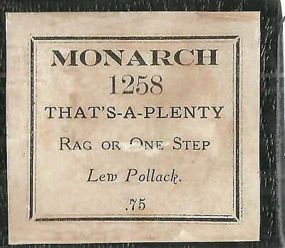 That's A Plenty, Rag or One-Step (Pollack) Monarch 1258 Piano Roll recut