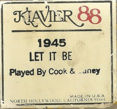 Let It Be (Lennon-McCartney),  played by Cook and Laney, Klavier 1945 Piano Roll