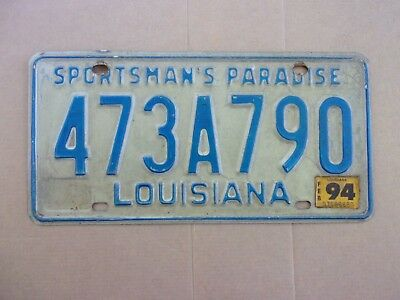 1994 Louisiana Sportsman's Paradise License Plate 473A790