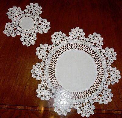 Beautiful Set Of 10 Antique Linen , Lace And White Work Placemats & Centerpiece